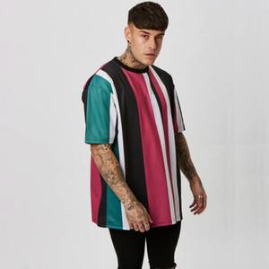Mens T Shirt Loose Hip Hop Fitness Color Stripe Gyms Bodybuilding Slim Shirts Men Short Sleeve Workout Male Tees Tops