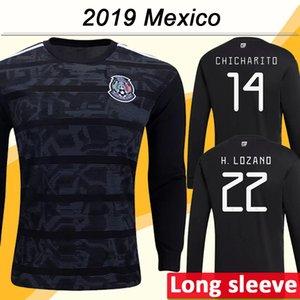 2019 Gold Cup México Chicharito Mens Futebol H. LOZANO GUARDADO manga comprida Início Preto camisas do futebol Uniformes R. JIMENEZ HERRERA