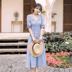 Moda Elbise Vintage Fransız Tarzı Mavi Fırfır Trim Midi Yaz Parti Bir Çizgi Benzersiz Büyüleyici Kadınlar Elbiseler 9336