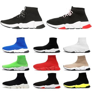 Balenciaga Socke Schuhe schnüren Speed Trainer Schwarz Rot Triple Black Brand Fashion Socken Trainer Sport Sneakers
