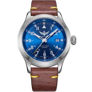 YELANG V1021 Aviator Serier T100 Tritium Tubes + Flourescent Numbers 100m Waterproof Leather Strap Mens Quartz Wrist Watch T200409