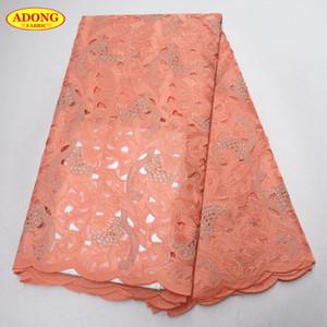 Alta qualità pizzo svizzero voile tessuto di pizzo africano vendita calda tessuto di pizzo organza ricamo e pietre 5 metri per abbigliamento, vestito