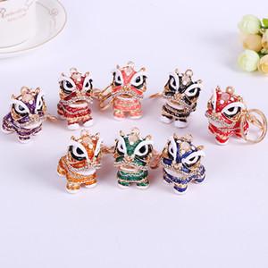 Lion danse chinoise en alliage de style Keychain Porte-clés en cristal ornements en gros cadeau de mariage Party Favor