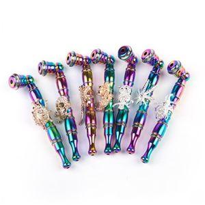 Animales metal pipa de aleación de aluminio colorido del tabaco de cigarrillo Tubos pequeños cráneo del búho de araña Accesorios de humo 16 9SF H1