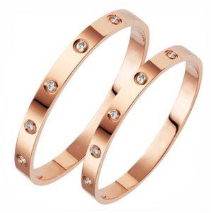 las mujeres de la joyería de lujo de diseño clásico de pulsera con brazaletes de oro para hombre de cristal de acero inoxidable 18k amor pulsera brazalete tornillo bracciali