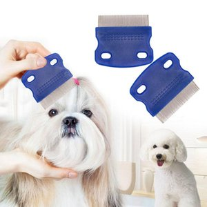 Lice Comb Non Slip Handle Pet Dog Cat Louse Flea Remove Brush Stainless Steel Grooming Tools YYA42