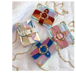 Diseñador-Borrar la cadena del hombro Bolsa de verano muchachas de las mujeres de colores Láser solapa del bolso de viaje Moda Playa holográfica de Crossbody del dc237