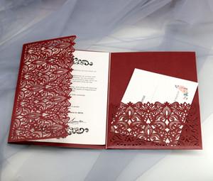 Marsala Burgundy Shimmer Wedding cartões do convite, Die Cut Vintage bolso Dobre Convites para Graduation Invites aniversário Quinceanera