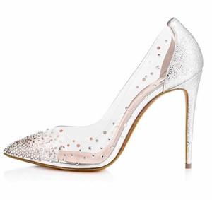 Taille 35 40 41 ETUI Rouge Bas Escarpins Or Argent Transparent Cristal Chaussures Chaussures de mariage de mariée Designer Pompes