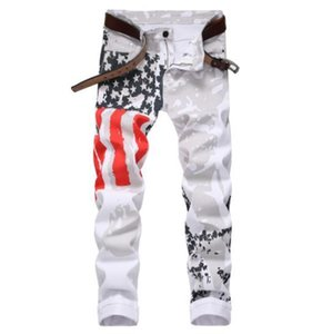 High-elastic mens jeans white American flag printing Stitching street pop locomotive riding jeans street designer fashion jeans