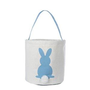 Yaratıcı Easter Bunny Basket ile Tavşan Desen ve Kuyruk Paskalya Şeker Bez Çantalar Tuval Paskalya Tavşan Çanta Parti Hediyeler 12styles RRA2611