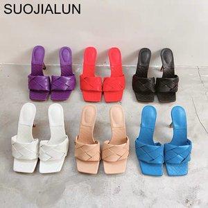 Женщины New Brand Design SUOJIALUN тапочка 2020 Летняя площади Toe каблука дамы Сандал Weave высокого качества платье обувь Слайды