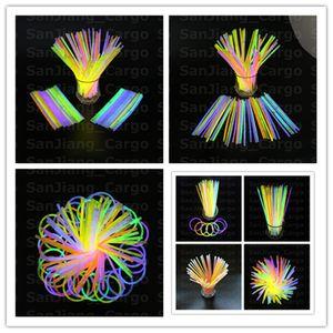 Colorful bastone di incandescenza del braccialetto di collane al neon partito lampeggiante bacchetta del bastone luminoso della novità Giocattoli Vocal Concert flash LED Sticks Hot E31008