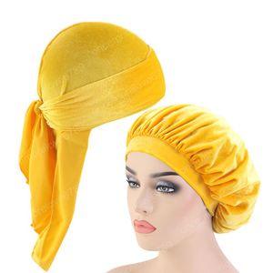 Velvet Durag Und Bonnet 2ST Set Frauen-Schlaf-Mütze und Männer Doo Rag Bonnet Cap Komfortable Samt Schlafmütze