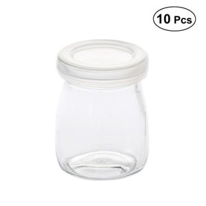 10Pcs 100ML Party Candy Boxes Baby Pudding Bottle Chocolate Gift Box with Plastic Lid Baby Shower Party Favors Supplies (White)