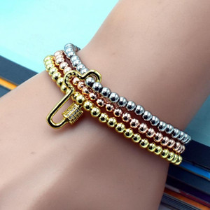 Eternal Faith Cross Zircon Pendant Bangles Rose Gold White and Gold Mixed Bracelet Freedom To Wear Jewelry Gift