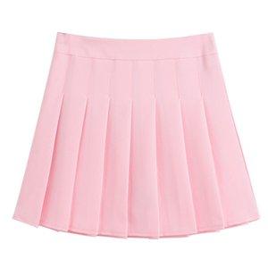 Women Girl High Waist Slim Pleated Tennis Skirt Solid Flared Casual Short Dress