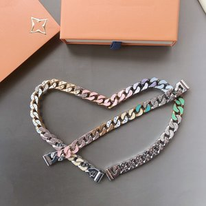 Europe Amérique Hommes titane acier Gravé V Initiales couleur émail diamant argent-métal épais chaîne Liens savonneux Collier Ensembles Bracelet