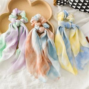 Scrunchies cinta teñida bandas del pelo gasa elástica muchachas de las mujeres del pelo del anillo del círculo Moda Scrunchy Ponytail de los accesorios del pelo 2020