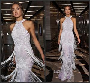 2019 Neue Glamorous Mantel Brautkleider Julie Vino Halter Quasten Hochzeitskleid Brautkleider Backless Perlen Vestido De Novia