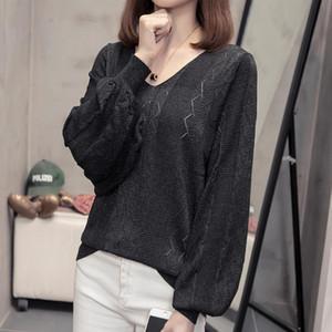 Nkandby Плюс Размер выдалбливают пуловер Женщины 2020 Весенняя мода корейский V шеи Свитера Негабаритные Сыпучие фонариков рукавом Туники