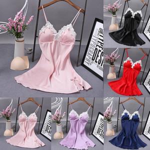 Sexy Ladies Silk Sleepwear Nightgown raso con scollo a V Camicia da notte Camicie da notte Dress slittamento Summer Night pizzo Notte abito lingerie per le donne