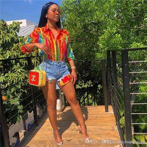 Lapel Neck Camicie camice dello stilista con Button Female Digital ha stampato la camicetta femminile casuale