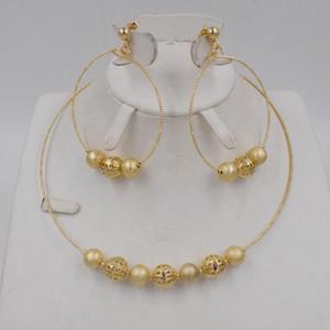 Bijoux de mariée bijoux de mariage Dubai Gold Nigeria Ensembles pour les femmes perle de haute qualité Collier Boucle d'oreilles