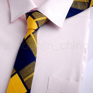 Мода человек бизнес хлопчатобумажный галстук досуг свадьба универсальный клетчатый галстук классическая полоса формальная одежда костюм галстук TTA1380-14