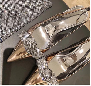 bridal wedding shoes metal patent leather with crystal bowtie kitten heels designer shoes pumps silver gold 6cm size 34 to 40
