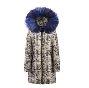 Fur Hat Casual Mulheres Parkas Mulheres Winter Designer Parkas Moda Snakeskin Impresso Longo Windbreaker Coats com Faux