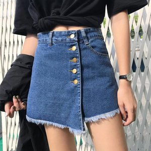 Women Skirt Shorts 2020 Newest Summer High Waist Skorts Blue Short Jeans Vintage Shorts Feminino Short Jeans Plus Size S-2XL