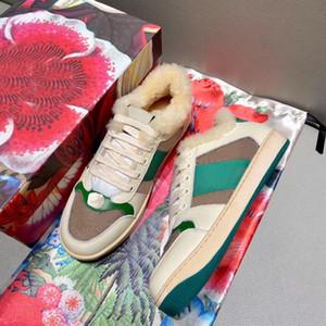 Hommes Chaussures de sport à la laine chaude 100% cuir lettre bandage mode hiver dames chaussures rétro conduite plate chaussures de sport grand taille 35-42-45