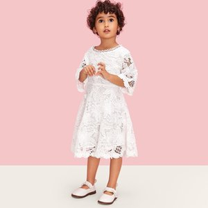New Baby Girls Dress Princess Floral Lace Dress Three Quarter Party Pageant Wedding Cute Lovely White Tutu Dresses Summer
