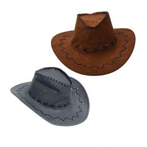 2 PCS Retro Unisex Denim Wild West Hats & Caps Hats, Scarves & Gloves Cowboy Cowgirl Rodeo Fancy Dress Accessory Hats Light Coffee Gray