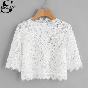 Sheinside Spring Hollow Out Eyelash Lace Plain Crop Blouse White girocollo manica 3/4 Slim Top donna elegante camicetta Y19050501