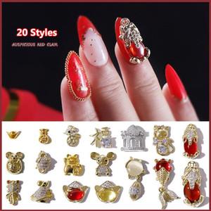 1PC estilo chinês prego 3D Rhinestone 20 Styles prego cristal Goldfish mouse lingotes de ligas de Jóias Decor Art DIY Beauty