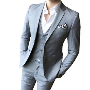 Color sólido Slim Fit Macho 3 piezas Trajes de novia Vestido de novia Hombres Business Casual Blazer Boda Dega de la cena de la boda Trajes de Groomsman