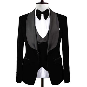 New Popular Black Groom Tuxedos Shawl Lapel One Button Men Suits Wedding Prom Dinner Best Man Blazer(Jacket+Vest+Pants)