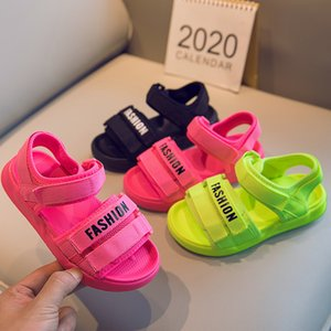 Children's Sandals 2020 New Korean Summer Boys Shoes Kids Girls Mesh Colorful Hook Loop Rubber Beach Sandals Shoes Students