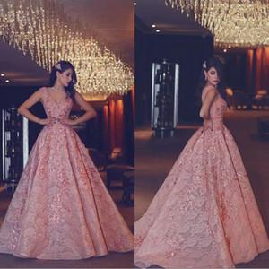 2019 Said Mhamad tamaño extra largo noche vestidos de noche usar con V-cuello de encaje de las mujeres vestidos formales de baile para Arabia Saudita BA4890