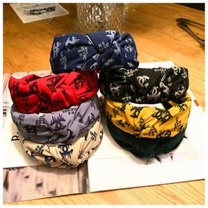 Moda Headband Meninas Vintage Knitting torcida atada Carta alça faixas largas cabelo da cabeça usar acessórios 7 Cores KFJ712