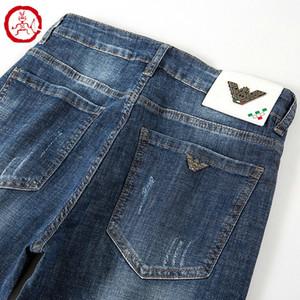 K672 V1R1 AJ-Jeans Yaz Bahar Açık Pantolon İnce Stretch kot pamuk pantolon pantolon düz iş olağan biçimde yıkanmış Erkek pantolonu pant