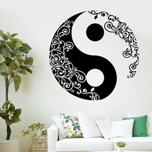 Mandala стикер стены Home Декаль Будда Инь Ян Цветочные Йога Медитация винила искусства стены Mural Home Decor украшения