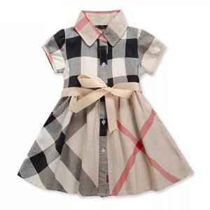 vestido de las niñas 2019 INS verano nuevos estilos estilos europeos y americanos de solapa de manga corta de algodón de alta calidad a cuadros vestido