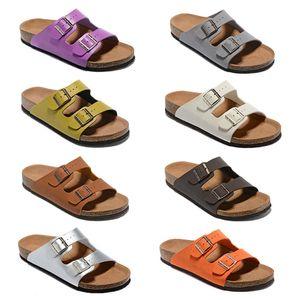 Горячие Продажи-Мужчины Плоские Сандалии Женщин Повседневная Обувь Двойной Известный Бренд Аризона Летний Пляж Высокое Качество Натуральная Кожа Тапочки С Оригинальной Коробке