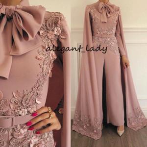 Tuta musulmana Pagliaccetti con mantello per Donna Dusty Pink Beaded Lace Applique Evening Pants Dubai Abiti da ballo arabi