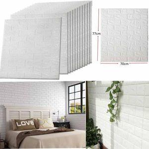 Wall Paper 10 Packs 3D Brick Wall Stickers auto-adhésif Panneau Decal PE Papier peint - Panneaux muraux Peel et bâton pour les murs TV