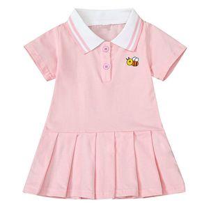 2020 лето Симпатичные девушки вскользь плиссированные платья Мода Пчелка печати детей платье принцессы Маленькая девочка Рождество костюм партии