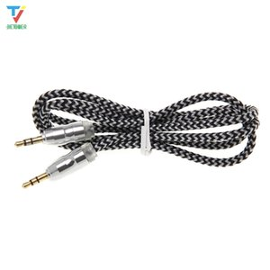 500pcs lot Cell phones cables Braided Weave AUX 3.5mm Male Stereo Aux Audio Extendtion Cables For Cell phones MP3 Speaker Tablet